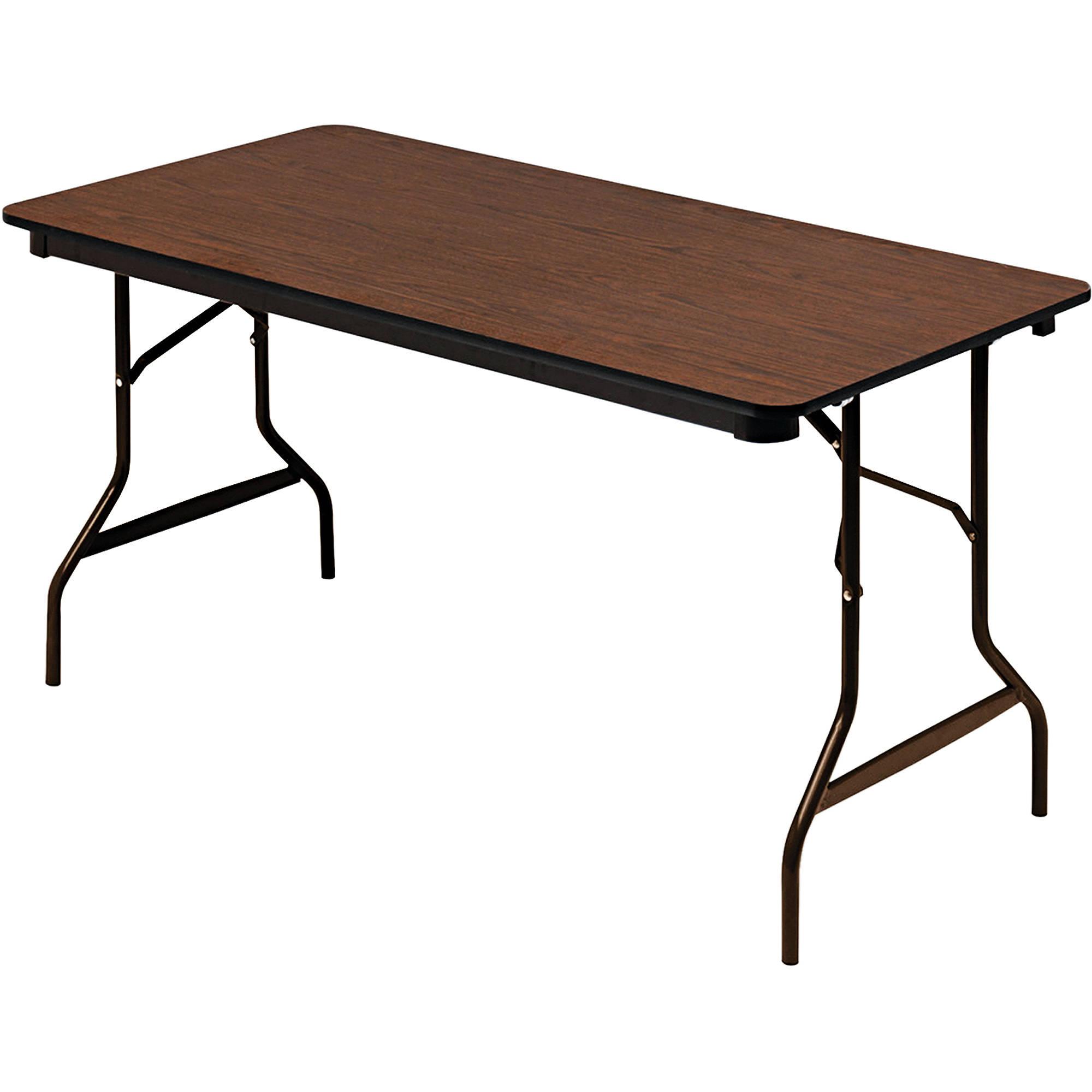 """Iceberg Economy Wood Laminate Folding Table, Rectangular, 29""""H, Walnut"""