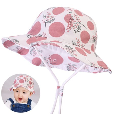 49b6dd10 Baby Sun Hat Wide Brim Sun Protection Hat Summer Beach Bucket Hat Cotton Cap  Adjustable with Chin Strap Fit Outdoor Activities Picnic Travel for Infant  ...