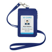GOGO PU Leather Credit Card ID Badge Holder with Side Zipper Pocket and Detachable Neck Lanyard-Blue