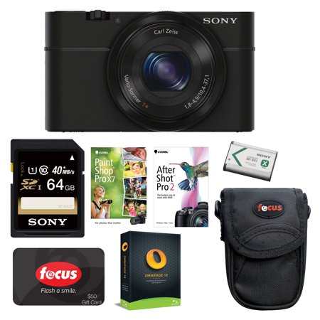 Sony Cyber-shot DSC-RX100 II Digital Camera + 64GB Card + Software Suite + Battery Pack + - Olympus Sony Cyber Shot