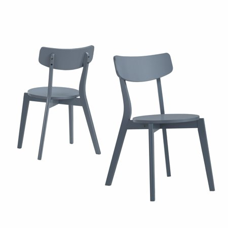 Roundhill Roma Contemporary Gray Wood Dining Chairs, Set of 2 ()