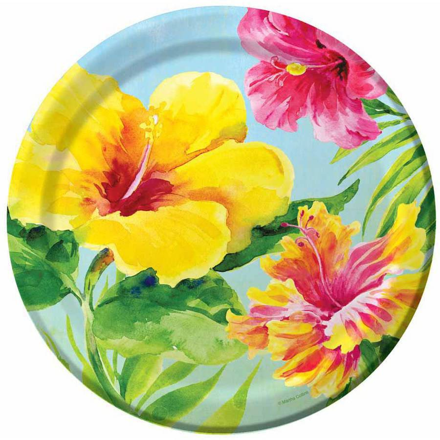 Heavenly Hibiscus Plates 18 Pack Walmart