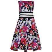 Girls Pink Floral Black White Geometric Print Dress 7
