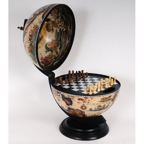 Old Modern Handicrafts White Globe with Chess Holder by Old Modern Handicrafts
