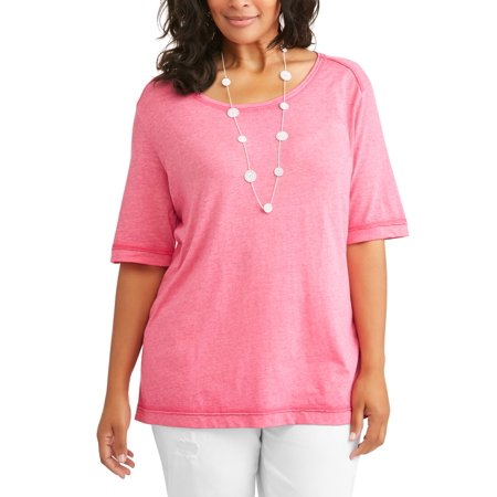 f7edce08f18ef Terra   Sky - Women s Plus Burnout Crew T-Shirt - Walmart.com