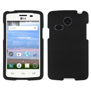 BLACK RUBBERIZED HARD SHELL CASE COVER FOR LG SUNRISE L15G AND LG LUCKY L16C