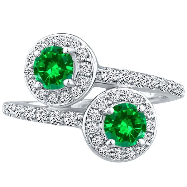 2.42 tcw Round Halo cr Emerald & Diamond Forever Wedding Ladies Ring 14K WG
