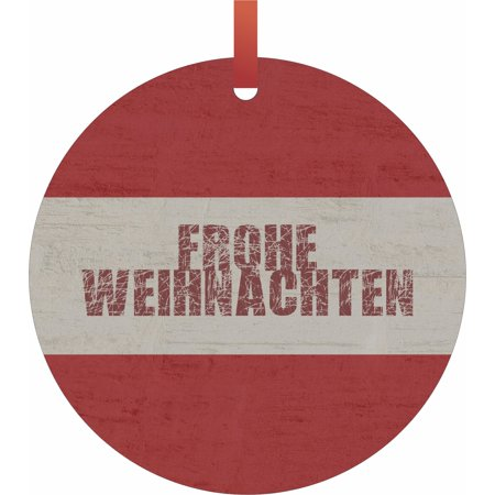 Top Ten Weihnachtsessen.Austria Flag Frohe Weihnachten Hanging Round Shaped Tree Ornament Flat Holiday Christmas Tm Made In The Usa