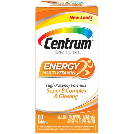 Centrum Specialist Energy Adult 60 Ct Multivitamin / Multimineral Supplement Tablet, Vitamin D3, C, B-Vitamins and Ginseng Day Energy Multi Vitamin