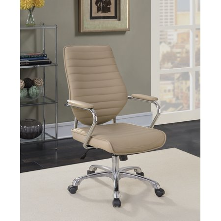 Furniture of America Vista Contemporary Chrome Rolling Mocha Office Chair