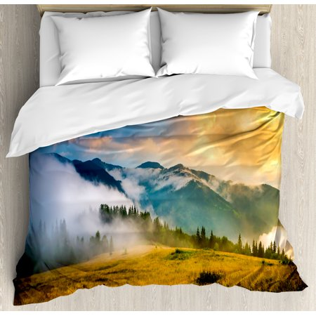 Landscape King Size Duvet Cover Set  Rural Scenery Sunrise Misty Mountains Clouds Trees Wildgrass Field Photo  Decorative 3 Piece Bedding Set With 2 Pillow Shams  Yellow Blue Green  By Ambesonne