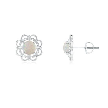 Angara Holiday Vintage Style Opal And Diamond Fleur De Lis Earrings In 14k White Gold 4mm Se1351opd Wg Aa 4