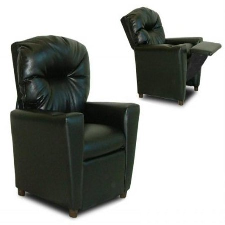 Child Recliner Chair with Cup Holder (Black Faux Leather) (27