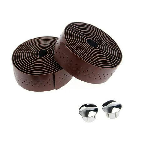 2x Bike Cycling Road Bike Sports Handlebar Tape Faux Leather Wrap +2 Bar Plug