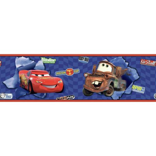 Room Mates Room Mates Deco Cars Lightning McQueen and Mater 15' x 9'' Scenic Border Wallpaper