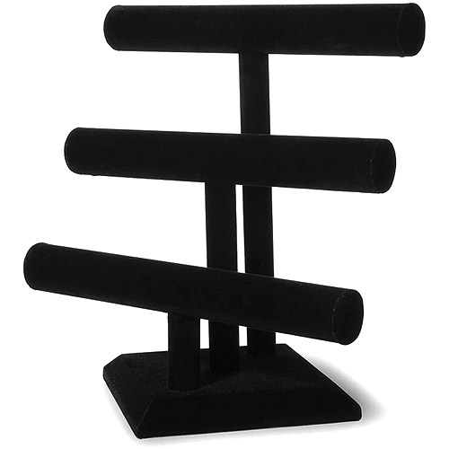 "Triple Bar Jewelry Stand 12"" x 12"" 1/pkg, Black Velvet"