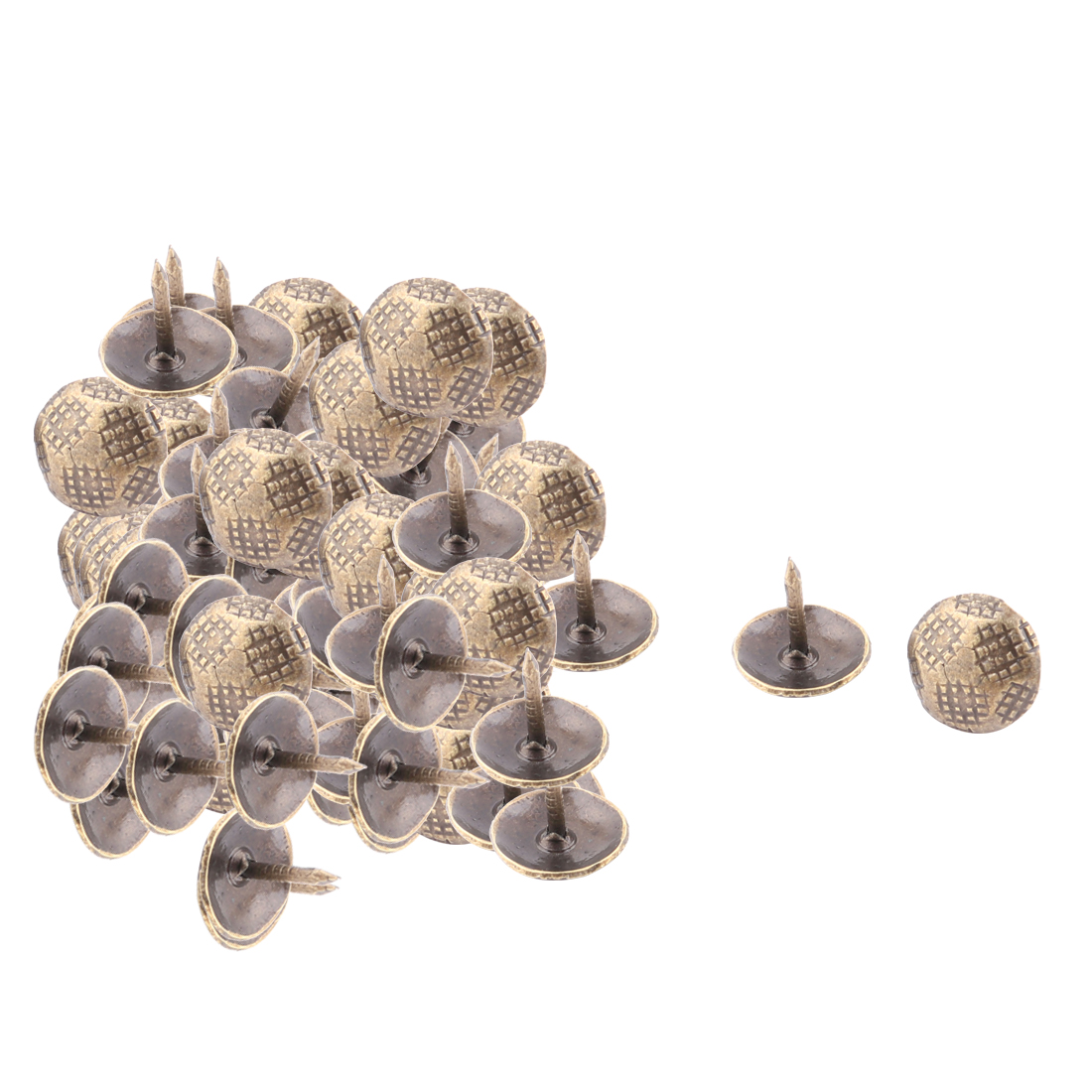 Home Furniture Metal Round Head Decorative Domed Nail Bronze Tone 100pcs