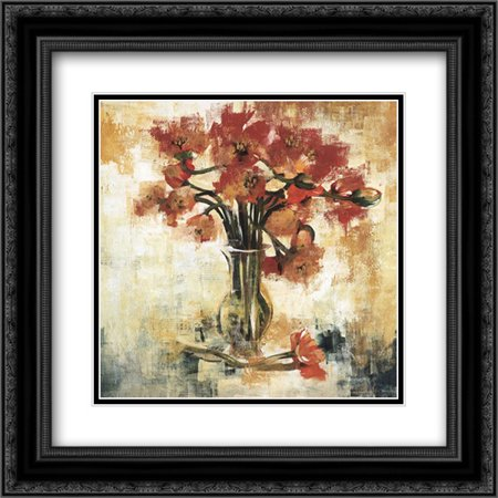 Symphony of Poppies 2x Matted 20x20 Black Ornate Framed Art Print by Jardine, Liz