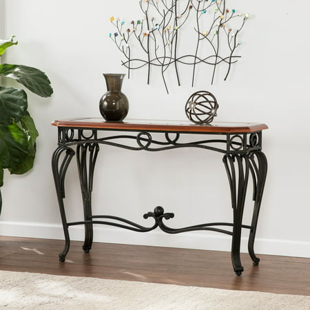 Southern Enterprises Aberdeen Sofa Table, Dark Cherry, Metal & Glass