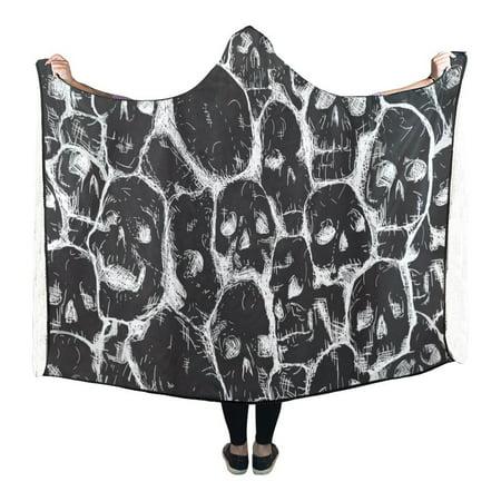 HATIART Hooded Blanket Skulls Pilling Polar Fleece Wearable Blanket Throw Blanket 56x80 Inches - image 1 de 2