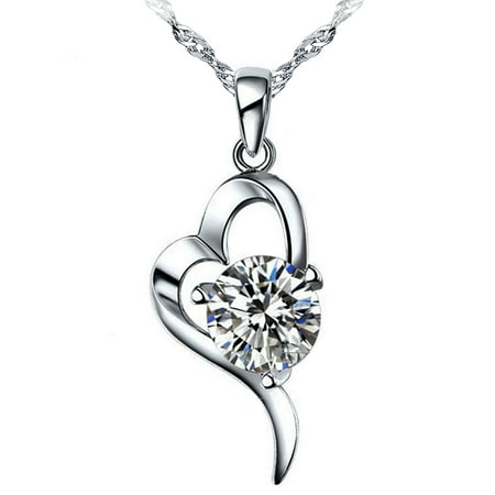 "Emma Manor 14K White Gold Plated 1.5ct Cubic Zirconia ""OL"" Style Heart Pendant Necklace For Women"