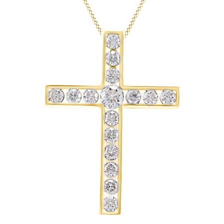 Round Natural Diamond Cross Pendant Necklace Sterling Silver Fine Jewelry Other Wedding Jewelry