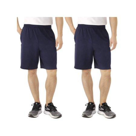 Fruit Of The Loom (2 Pack) Tagless Mens Shorts With Pockets 9 Inch Inseam Athletic Cotton Running -