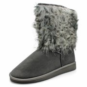 Fashion Girl Women's Faux Suede Fur Trimmed Mid Calf Winter Boots