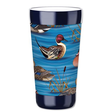 Mugzie 16-Ounce Tumbler Drink Cup with Removable Insulated Wetsuit Cover - Ducks II