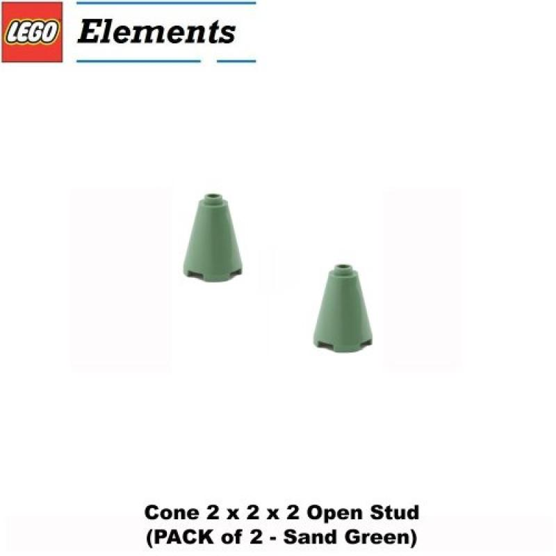 Lego Parts: Cone 2 x 2 x 2 Open Stud (PACK of 2 - Sand Green)