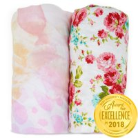 Kids N' Such Changing Pad Cover - Premium Jersey Knit Cotton- Will fit ANY Baby Changing Pad Size or Shape - Super Soft - Safe for Babies - 2 Pack Change Pad Liner or Cradle Sheet - Fleur and Floral