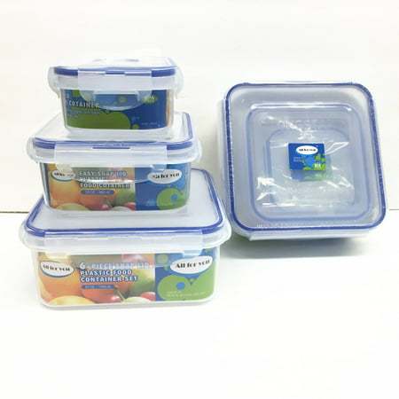 All For You BPA Free Plastic Food Container Set with Locking Lids - Safe for Dishwasher and Freezer - Snap On Lids Keep Food Fresh with Airtight Seal (Set of 3 Square)