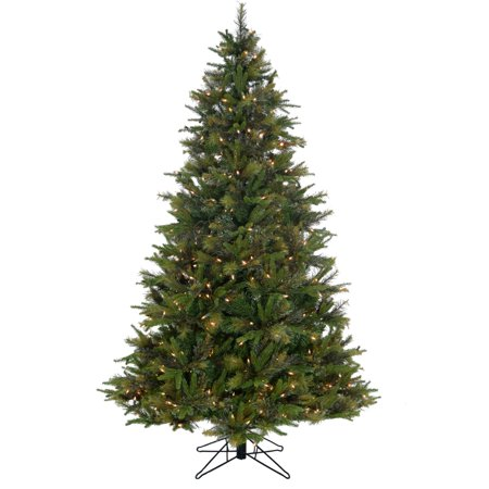 Fraser Hill Farm 7.5-Ft Bayberry Green Christmas Tree with Mixed Branch Styles and EZ Connect Warm White LED Lights ()