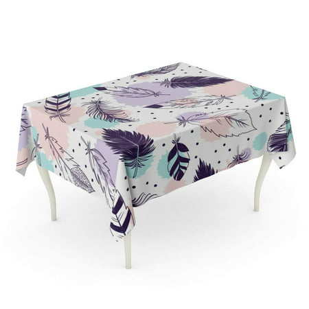 JSDART Abstract Feathers Beautiful Beauty Bird Color Drawing Elegance Flying Tablecloth Table Desk Cover Home Party Decor 60x120 inch - image 1 of 1