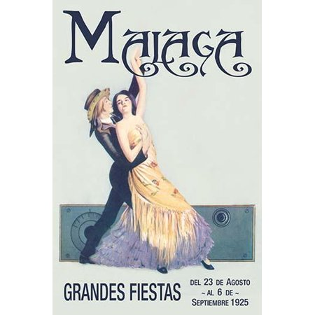 A pair of dancers in traditional Spanish attire adorn this travel & tourism poster for the Grand festival in Malaga Spain  This poster is a modern version commemorating the 1925 event Poster Print by - A Grand Event