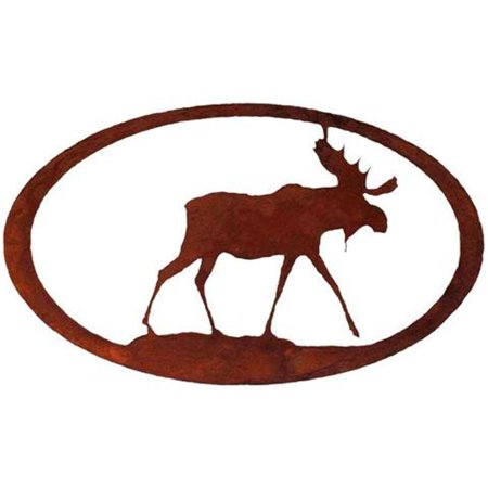 Moose Oval Metal Wall Art - Rust (Rust Moose)