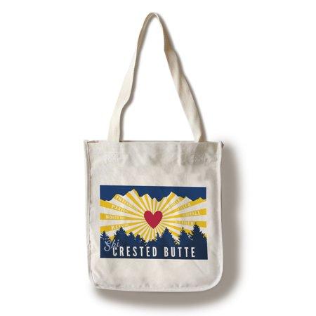 Ski Crested Butte, Colorado - Heart & Treeline - Lantern Press Artwork (100% Cotton Tote Bag - Reusable)