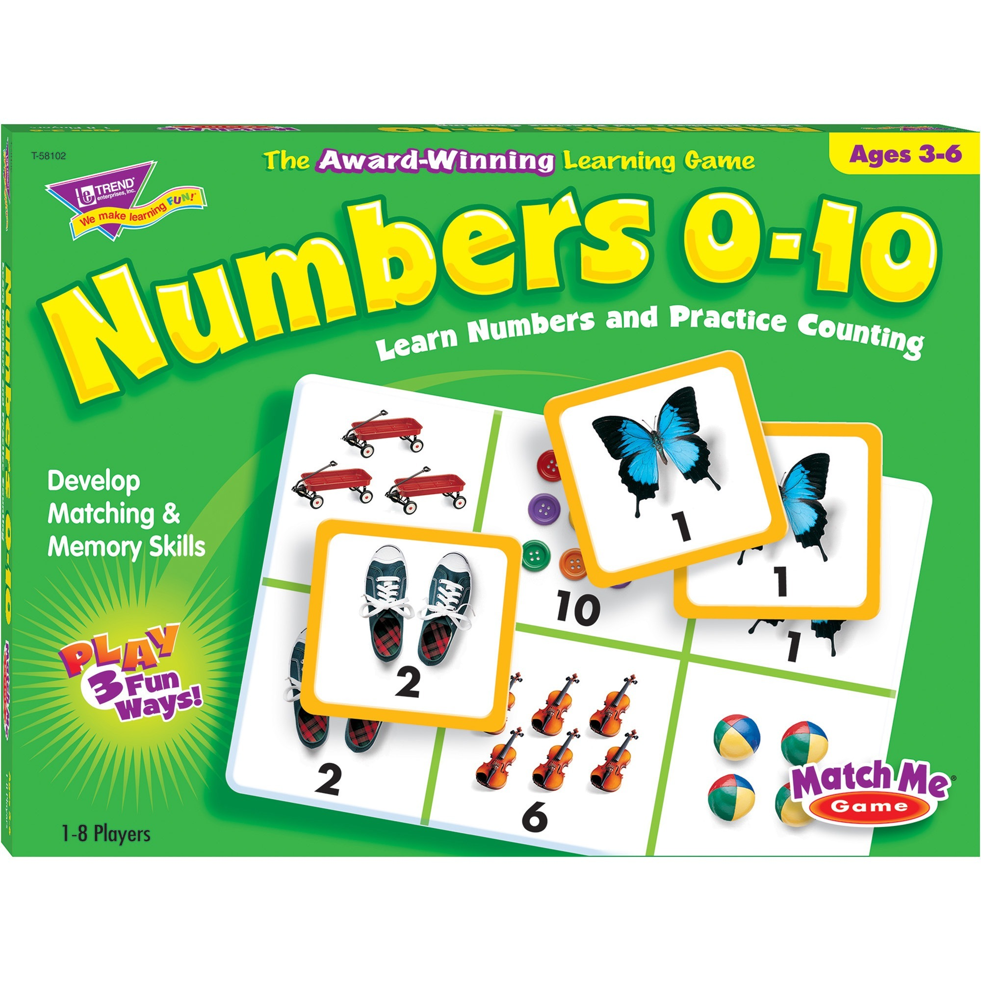 Trend, TEPT58102, Match Me Numbers 0-10 Learning Game, 1 Each, Multi