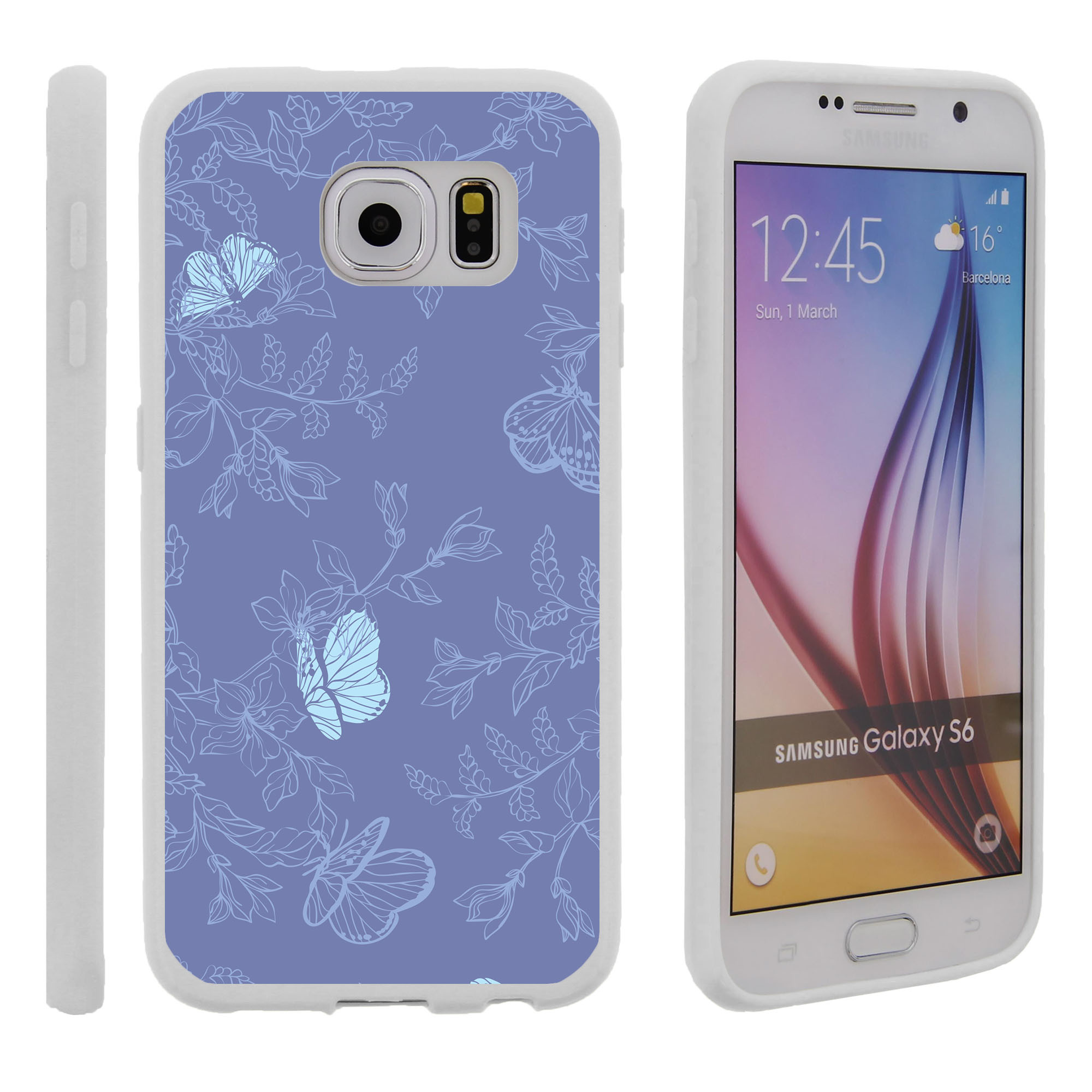 Samsung Galaxy S6 G920, Flexible Case [FLEX FORCE] Slim Durable TPU Sleek Bumper with Unique Designs - Divine Butterfly