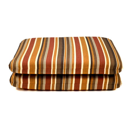 Sunbrella Striped 20 x 18 in. Outdoor Seat Pad - Set of 2 - Brannon Redwood