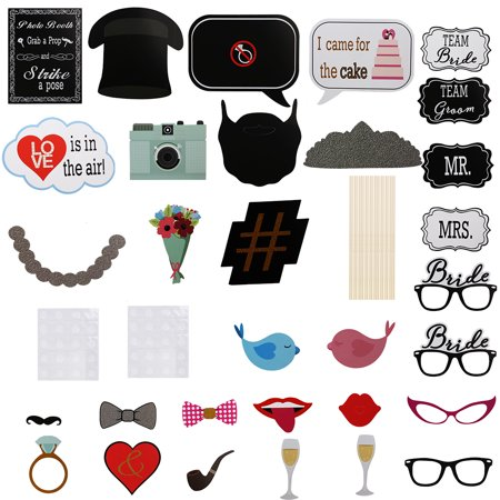 31PCS Wedding Photo Booth Props, Bachelor Party Birthday Decorations Supplies Décor - Bachelor Party Supplies