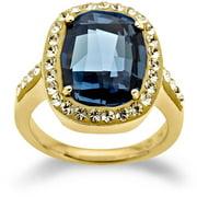 Swarovski Elements Gold over Sterling Silver Blue Ring, Size 7