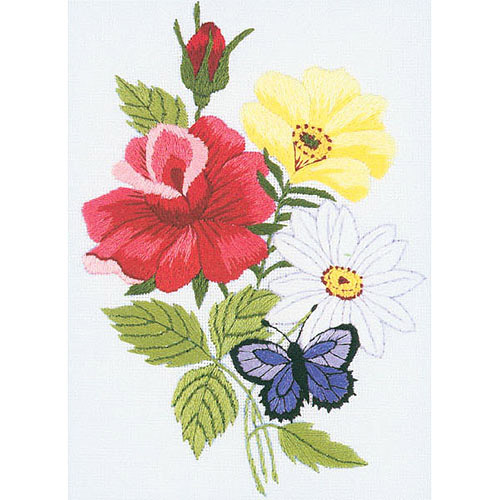 "Butterfly & Floral Embroidery Kit-5""X7"" Stitched In Floss"