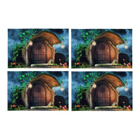 MKHERT Fairytale Tree Trunk Cottage with Ivy Flowers and Lamps at Night Placemats Table Mats for Dining Room Kitchen Table Decoration 12x18 inch,Set of 4