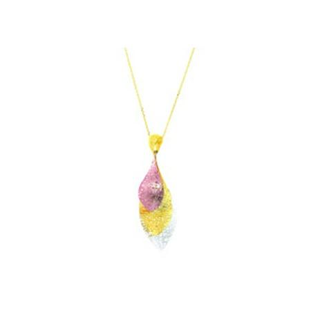 14 Karat Yellow White and Rose Gold 38x25mm Triple Mesh Leaf Necklace 18 (14 Karat Gold Vs 18 Karat Gold)