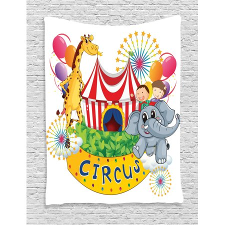 Circus Decor Wall Hanging Tapestry, Circus Show With Kids And Animals Smiling Magician Children Happiness, Bedroom Living Room Dorm Accessories, Gift Ideas, By Ambesonne - Circus Ideas