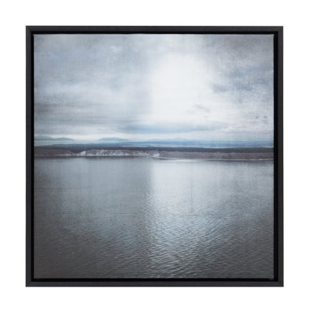 Kate and Laurel - Sylvie Serene Coastal Scene with Mountains and Overcast Sky Color Photograph, Framed Canvas Wall Art, Black 24 x 24