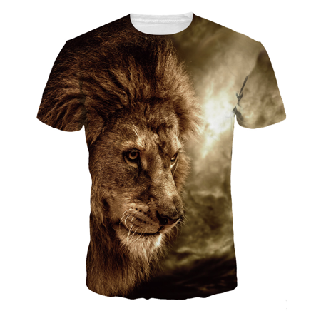 Fast Fashion - Fashion Lion Pattern 3D Printed Short Sleeve Men's Jacket Couple Fast-drying Breathable T-shirt