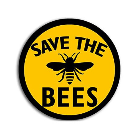 4x4 inch Round Save The Bees Sticker (Anti Monsanto Beekeeper Yellow Black