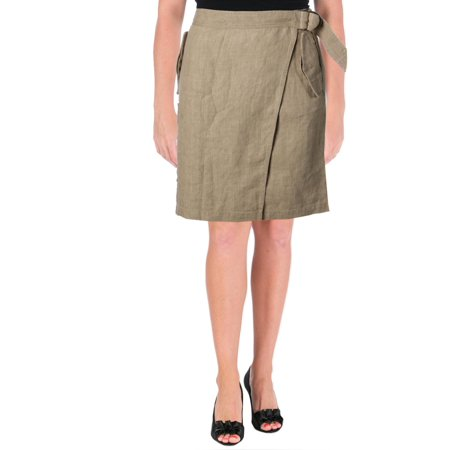 Lauren Ralph Lauren Womens Linen Cargo Wrap Skirt